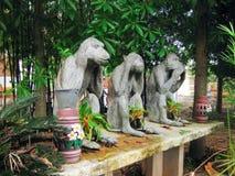 Bianco della scimmia della statua Fotografia Stock
