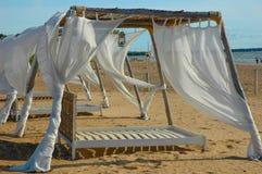bianco della tenda del tessuto Immagini Stock