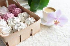 Bianco delle caramelle gommosa e molle e rosa fatti a mano Immagini Stock Libere da Diritti