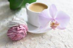 Bianco delle caramelle gommosa e molle e rosa fatti a mano Fotografia Stock