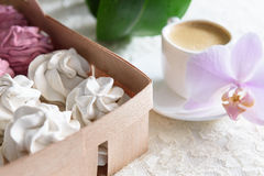 Bianco delle caramelle gommosa e molle e rosa fatti a mano Fotografie Stock Libere da Diritti