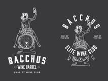 Bianco di Bacchus Wine Club sul nero Fotografie Stock