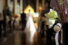 bianco di cerimonia nuziale del fiore della decorazione Fotografia Stock