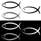 Bianco di Christian Jesus Fish Symbol Set Black Illustrazione Vettoriale