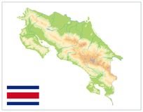 Bianco di Costa Rica Physical Map Isolated On NESSUN testo Fotografie Stock