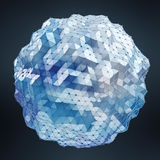 Bianco di galleggiamento e rappresentazione d'ardore blu della rete 3D della sfera Immagini Stock Libere da Diritti