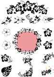 Bianco di N del nero di disegno floreale dell'Hawai ' Fotografia Stock Libera da Diritti