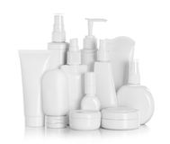 Bianco di plastica della bottiglia della pompa dell'erogatore del gel, della schiuma o del sapone liquido Fotografia Stock