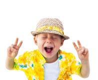 Bianco di Straw Hat Laughs Camera Isolated del bambino immagini stock