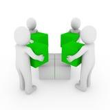 bianco di verde della squadra della casella del peoplecube 3d Fotografia Stock Libera da Diritti