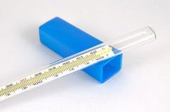 Bianco di vetro del termometro di mercurio isolato Fotografia Stock Libera da Diritti