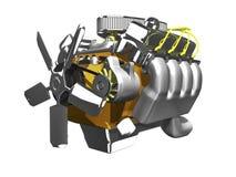 bianco di vista laterale del motore 3d Immagine Stock Libera da Diritti