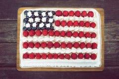 Bianco e blu patriottici e rossi, dolce della bandiera americana Immagine Stock
