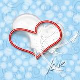 Bianco e colore rosso del cuore illustrazione di stock