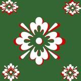 Bianco e colore rosso sull'estratto verde Fotografia Stock
