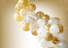 Bianco e fondo dei palloni del partito dell'oro Fotografie Stock
