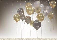 Bianco e fondo dei palloni del partito dell'oro Immagine Stock Libera da Diritti