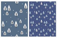 Bianco e Gray Trees Isolated su un fondo blu scuro Metta dei modelli senza cuciture di vettore astratto dell'albero illustrazione vettoriale