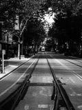 In bianco e nero delle piste di tram di Sacramento con il tram nella distanza Fotografia Stock Libera da Diritti
