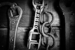 In bianco e nero di vecchi strumenti dell'azienda agricola sulla parete immagini stock