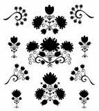 Bianco e nero floreale del modello Fotografia Stock
