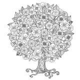 In bianco e nero floreale di oriente del cerchio Immagine Stock