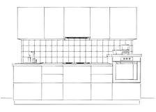 In bianco e nero interno di schizzo della cucina contemporanea isolato Immagini Stock Libere da Diritti