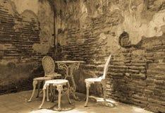 In bianco e nero stabilito dei mobili da giardino Fotografia Stock Libera da Diritti