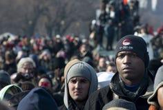 Bianco e uomini di colore nella folla di inaugurazione di Obama Fotografia Stock Libera da Diritti