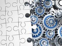 Bianco ed ingranaggio di puzzle Fotografie Stock Libere da Diritti