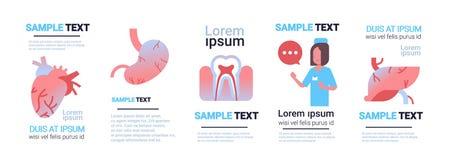 Bianco femminile fissato di concetto di sanità di consultazione di medico della raccolta infographic umana differente degli organ illustrazione vettoriale