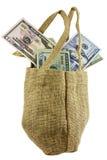 Bianco isolato denaro contante della borsa di tela da imballaggio Fotografia Stock