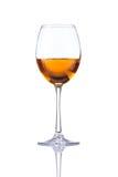 Bianco isolato di vetro del vino bianco Fotografia Stock