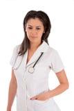 Bianco isolato medico della donna immagini stock
