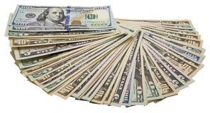 Bianco isolato mucchio del fan delle banconote degli Stati Uniti Fotografie Stock Libere da Diritti