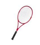 Bianco isolato rosso della racchetta di tennis Fotografie Stock
