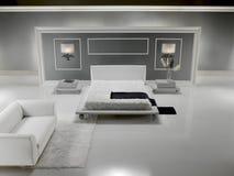 bianco lussuoso della camera da letto Fotografie Stock