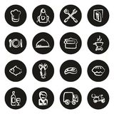 Bianco a mano libera delle icone di affari di approvvigionamento sul cerchio nero illustrazione di stock