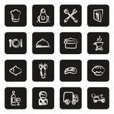 Bianco a mano libera delle icone di affari di approvvigionamento sul nero illustrazione vettoriale