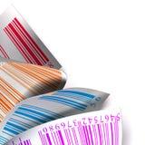 Bianco multicolore del contrassegno dell'autoadesivo dei codici a barre Immagine Stock