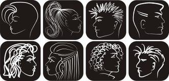 Bianco nero equipaggiano ed i profili dei womans Fotografie Stock Libere da Diritti