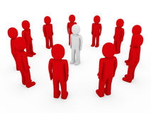 bianco rosso del cerchio umano 3d Fotografia Stock Libera da Diritti