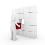 bianco rosso del cubo umano 3d Fotografia Stock Libera da Diritti