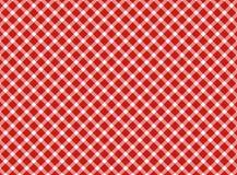 Bianco rosso della retro tovaglia Fotografia Stock