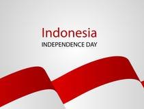 Bianco rosso, fondo di saluto di August Happy Independence Day di progettazione di massima dei coriandoli Illustrazione di vettor Fotografia Stock Libera da Diritti