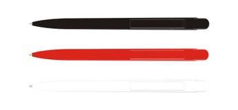 Bianco rosso nero della penna Fotografia Stock