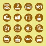 Bianco stabilito dell'icona di riparazione e di servizio dell'automobile in oro Immagine Stock
