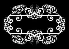 Bianco sulla bandiera o sul bordo a spirale nera Immagini Stock