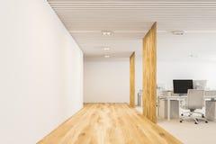 Bianco, vista frontale dell'ufficio open space moderno di legno Immagine Stock