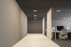 Bianco, vista frontale dell'ufficio open space moderno grigio Fotografia Stock